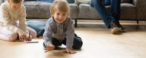 Toddler crawling on floor is exposed to flame retardants through dermal contact